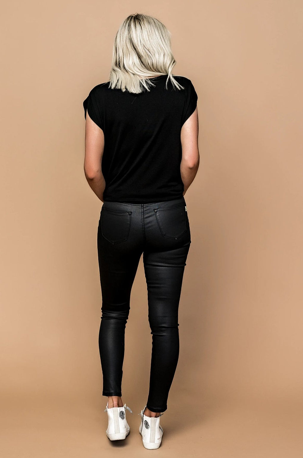 Sparrow Coated Luxe Black Skinnies