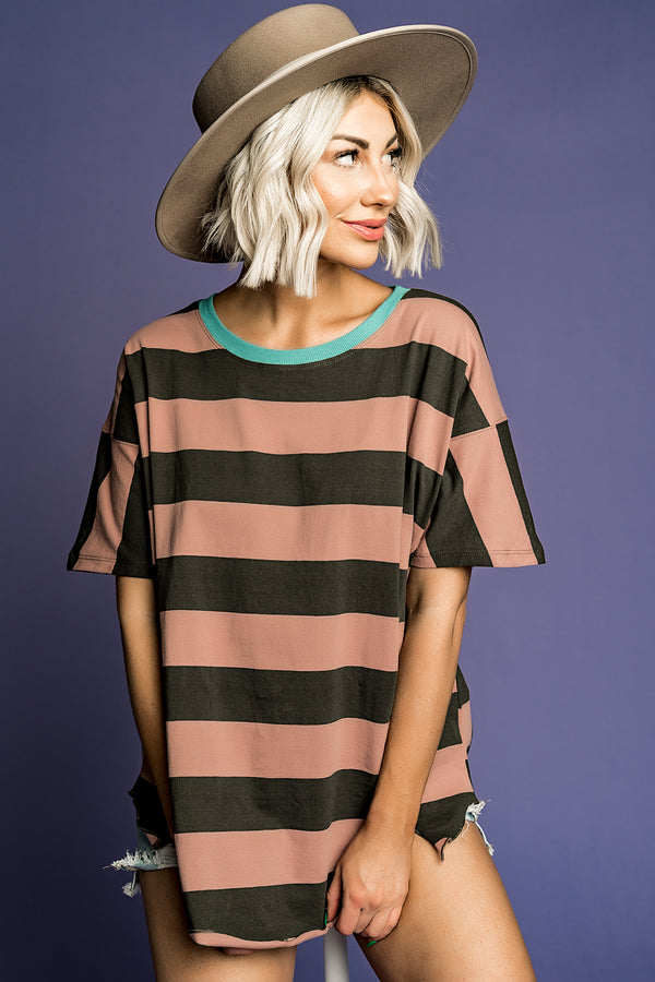 Phoebe Striped Top in Mauve