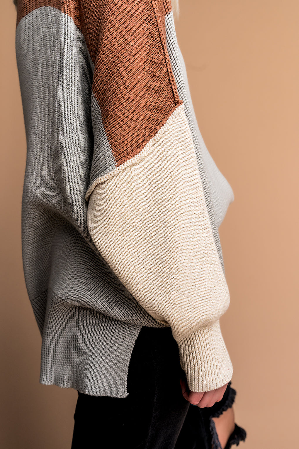 Cozy Season Colorblock Sweater in Rust