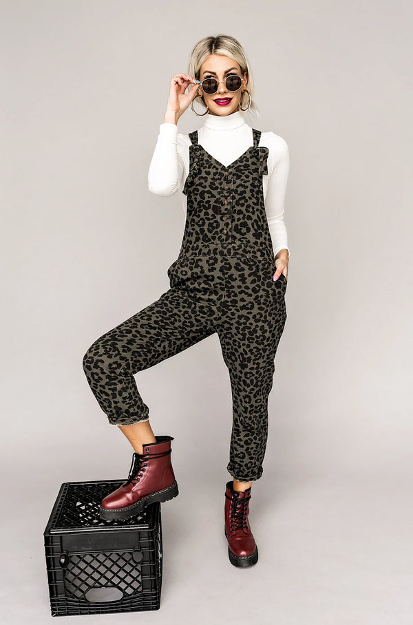 Luca Leopard Overalls in Olive