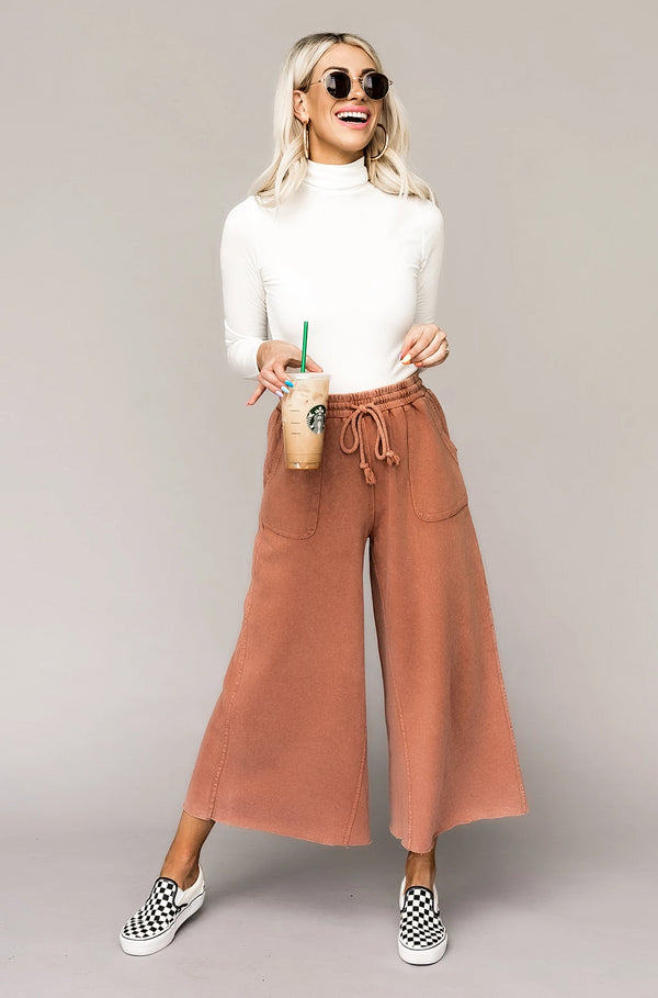 Weekender Wide Leg Pants in Rust