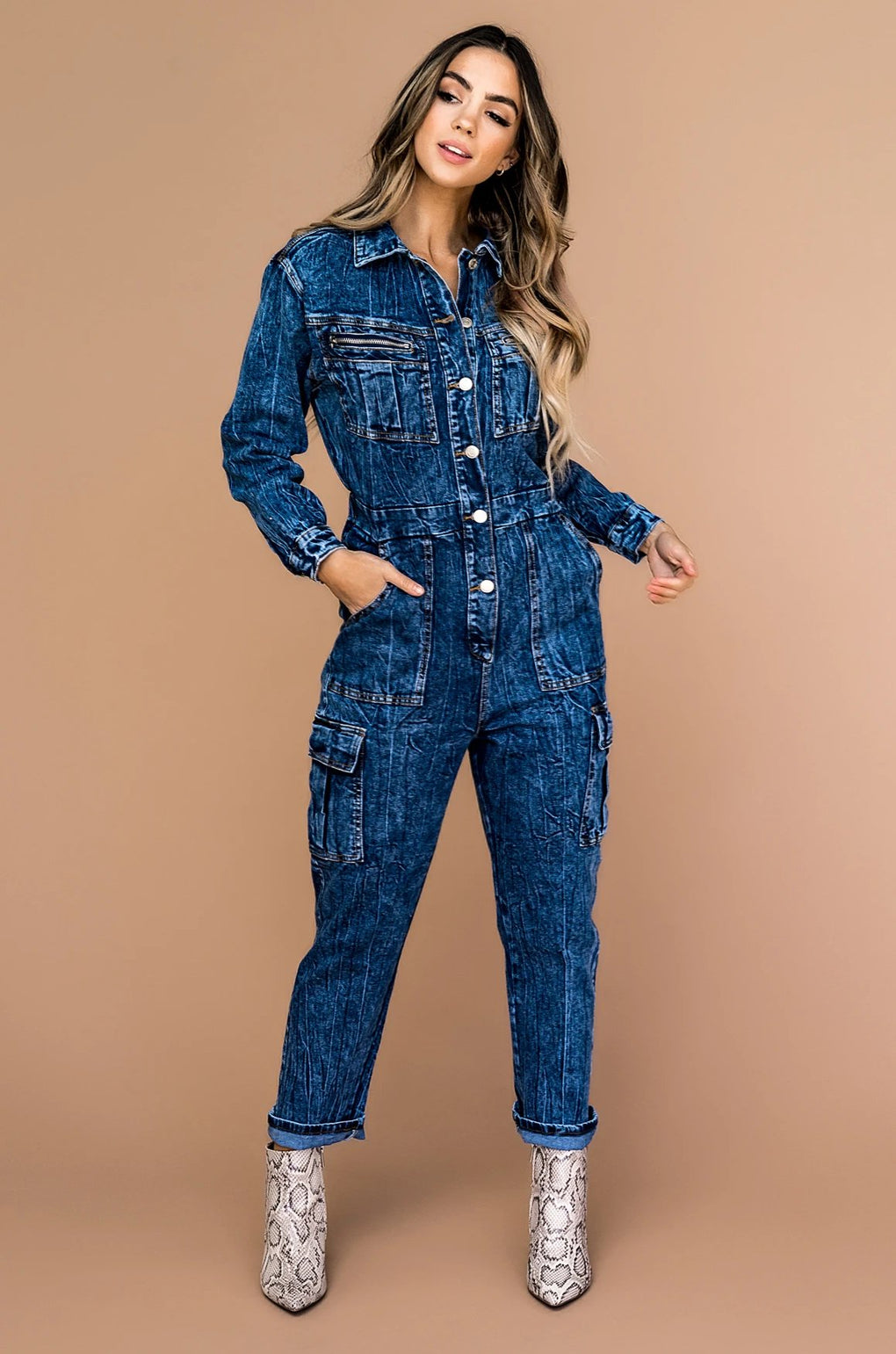 Troublemaker Acid Wash Boiler Jumpsuit