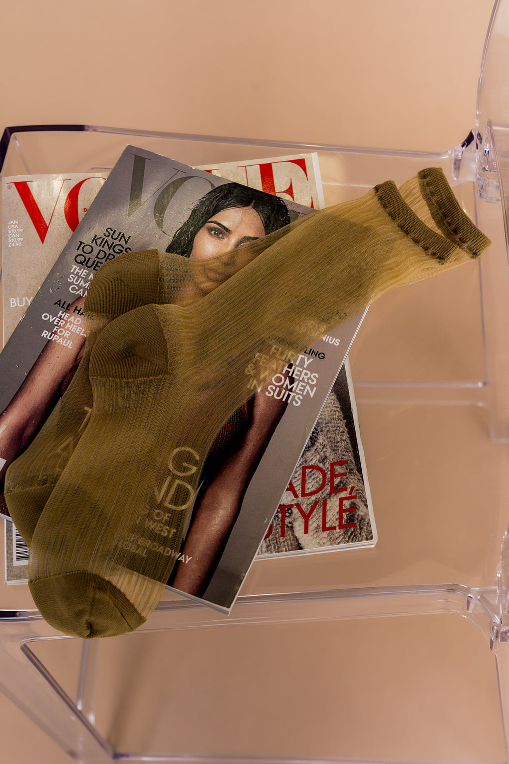 Kickin' It Sheer Crew Socks in Olive