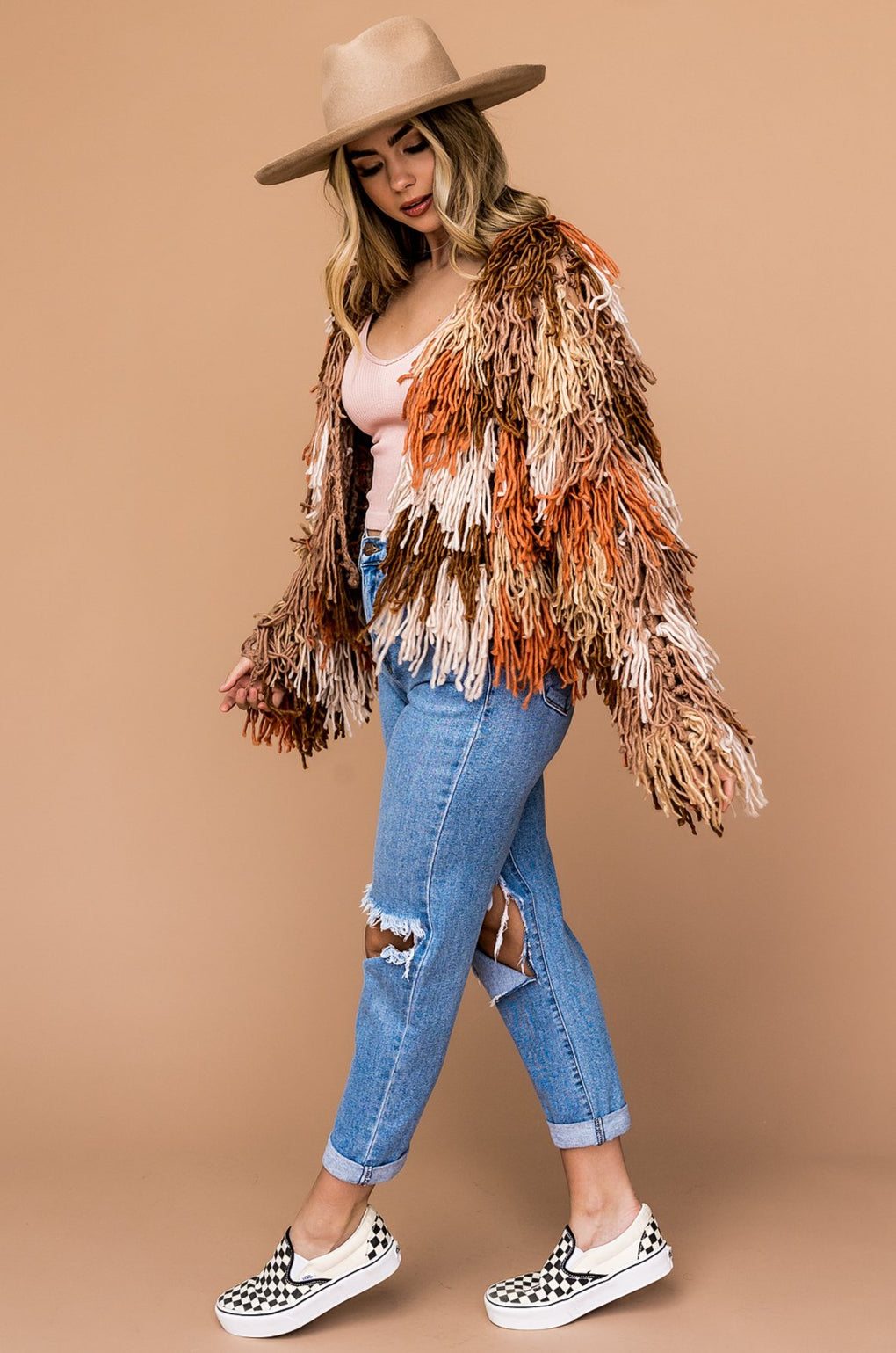 Supernova Fringe Cardigan in Warm Vibes