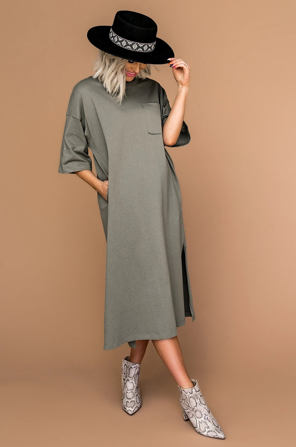 Palo Santo Oversized T-Shirt Dress in Olive
