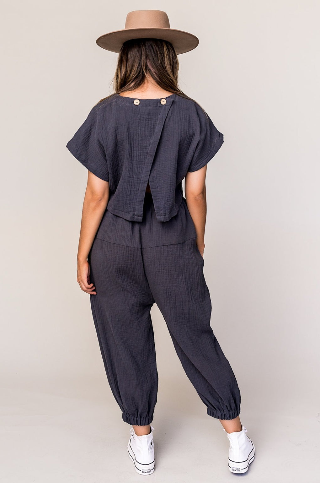 Major Crush Cutout Jumpsuit in Charcoal