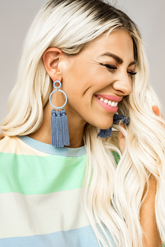 Ocean Eyes Tassel Earrings