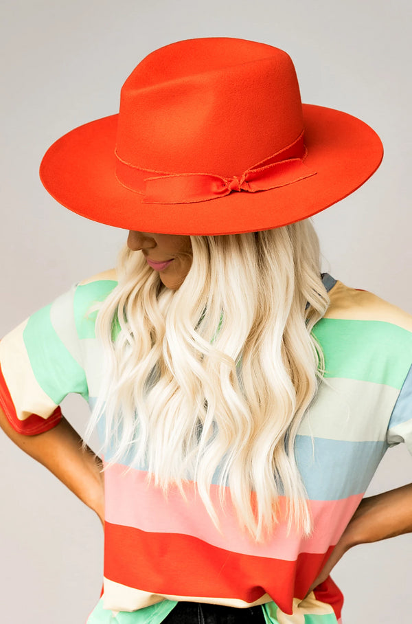 Sunset Orange Daphne Hat
