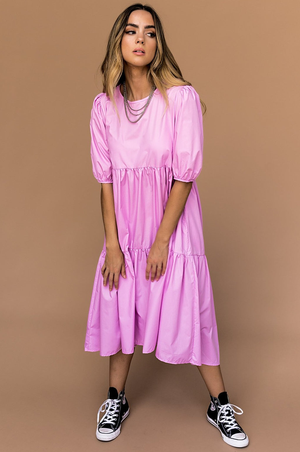 Lilac Lane Puff Sleeve Midi Dress