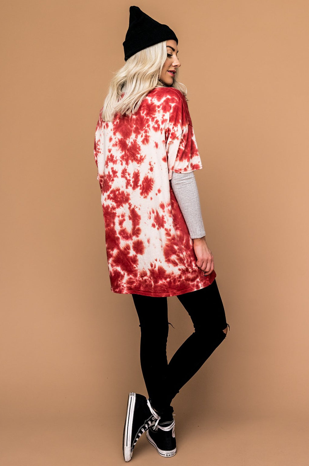 Good Times Oversized Tie Dye Tee in Ruby