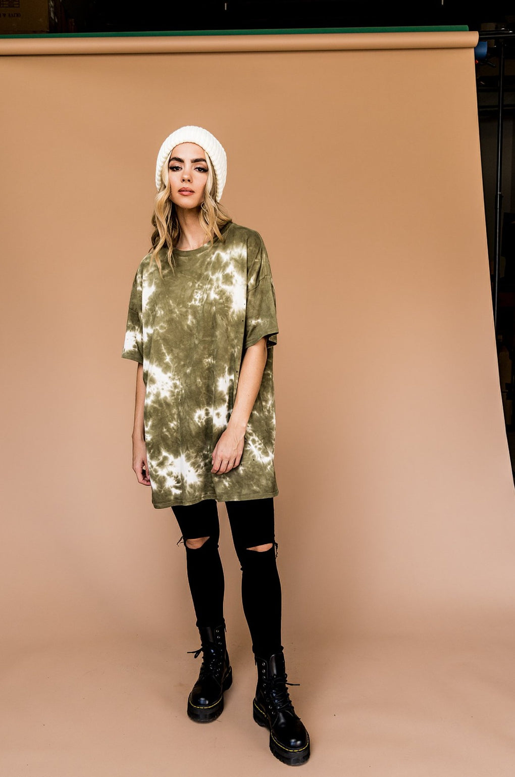Good Times Oversized Tie Dye Tee in Olive