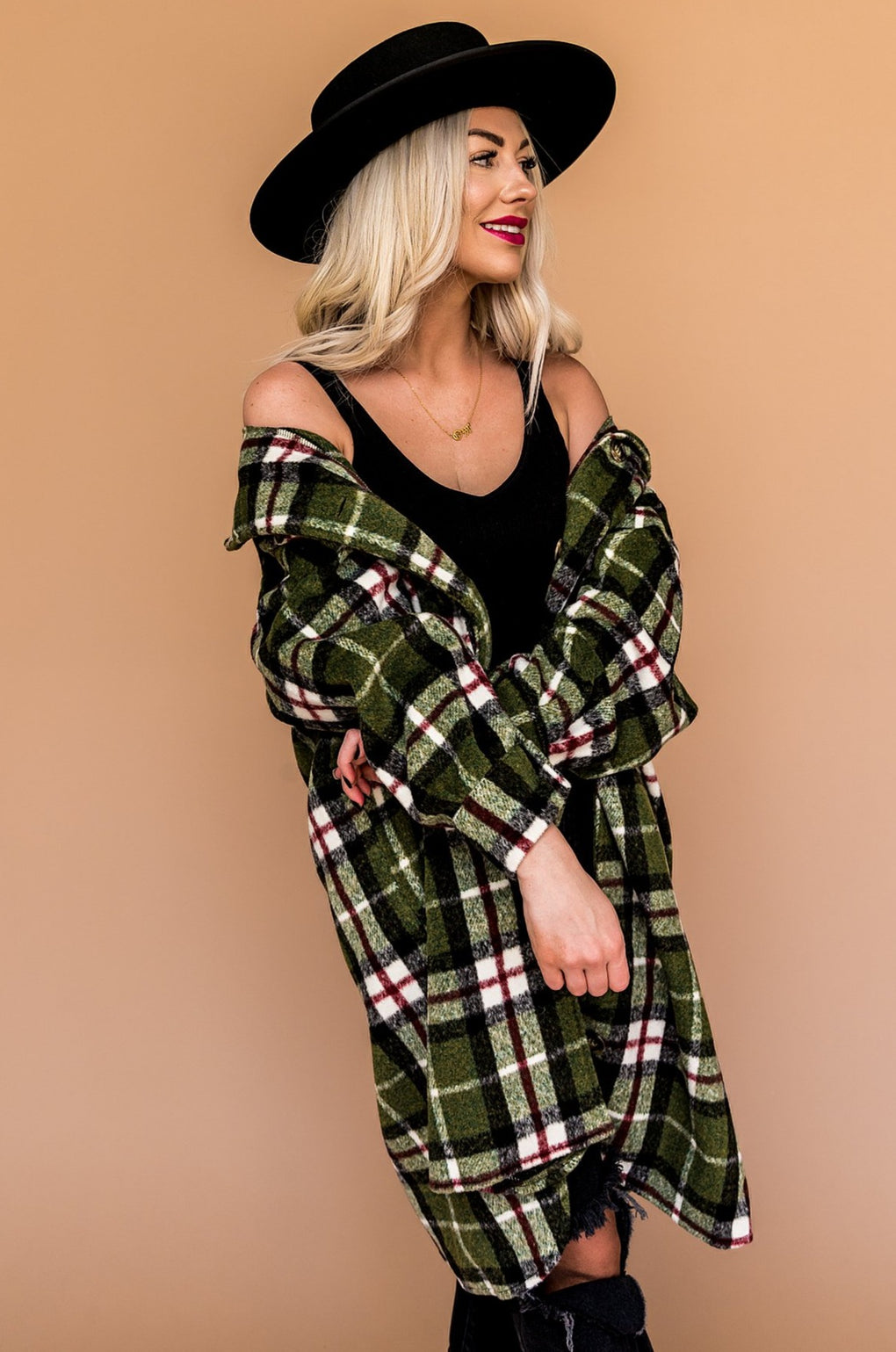 Empire State Grunge Plaid Coat in Pine