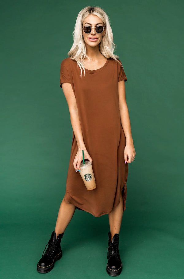 Obsessed T-Shirt Dress in Cappuccino