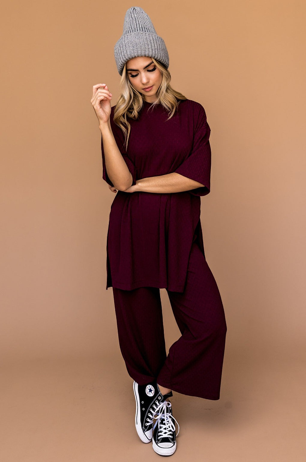 LALA ORIGINAL DESIGN: Lex Ribbed Playsuit in Wine