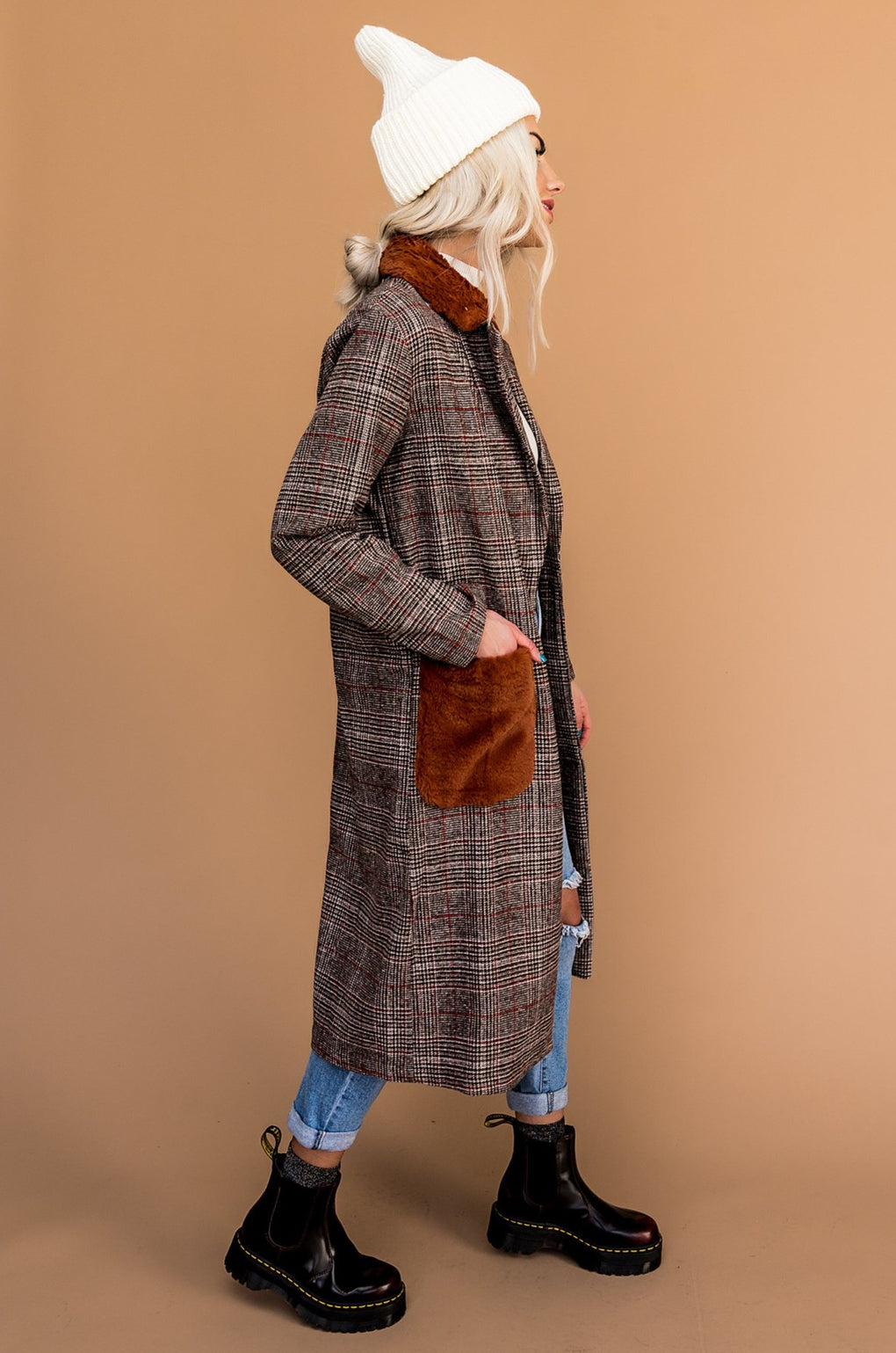 Times Square Plaid Overcoat