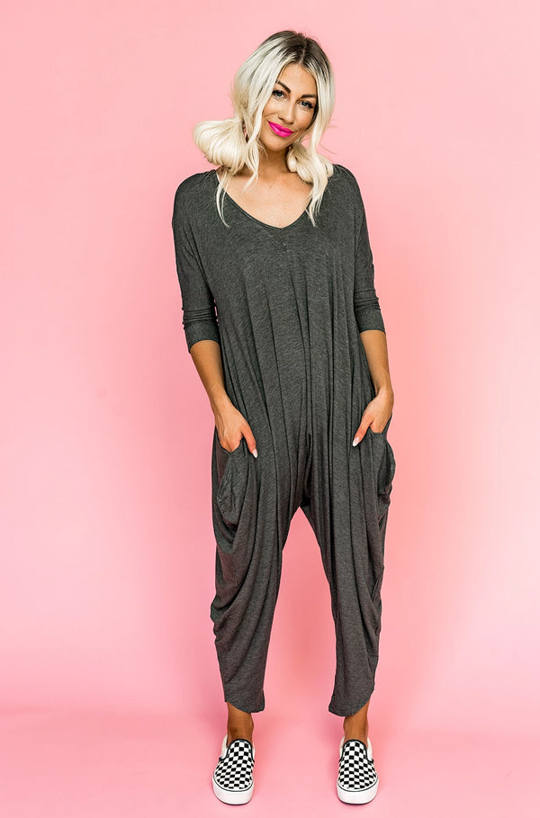 Just Because Charcoal Harem Jumpsuit