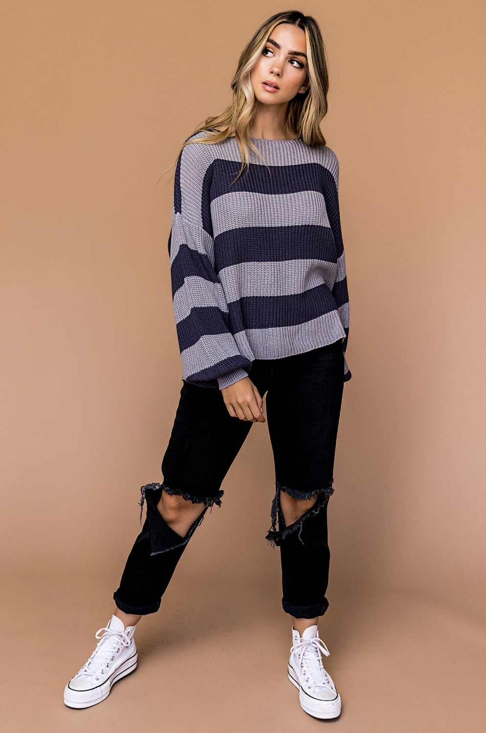 Neptune Oversized Striped Knit Pullover