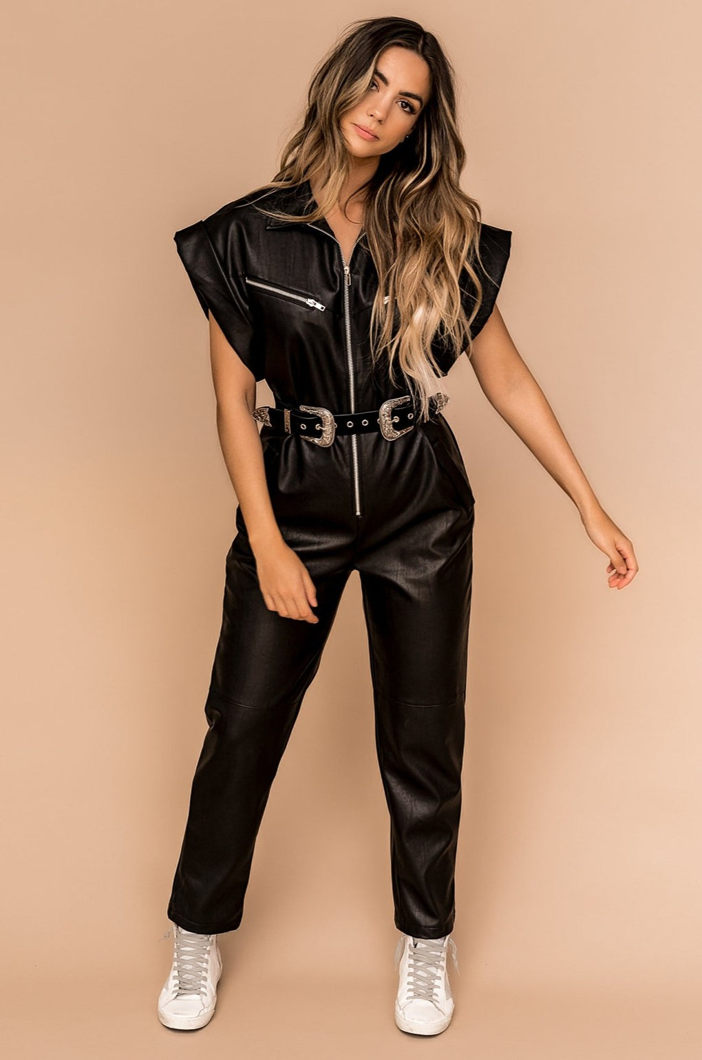 Santa Fe Vegan Leather Luxe Jumpsuit in Black
