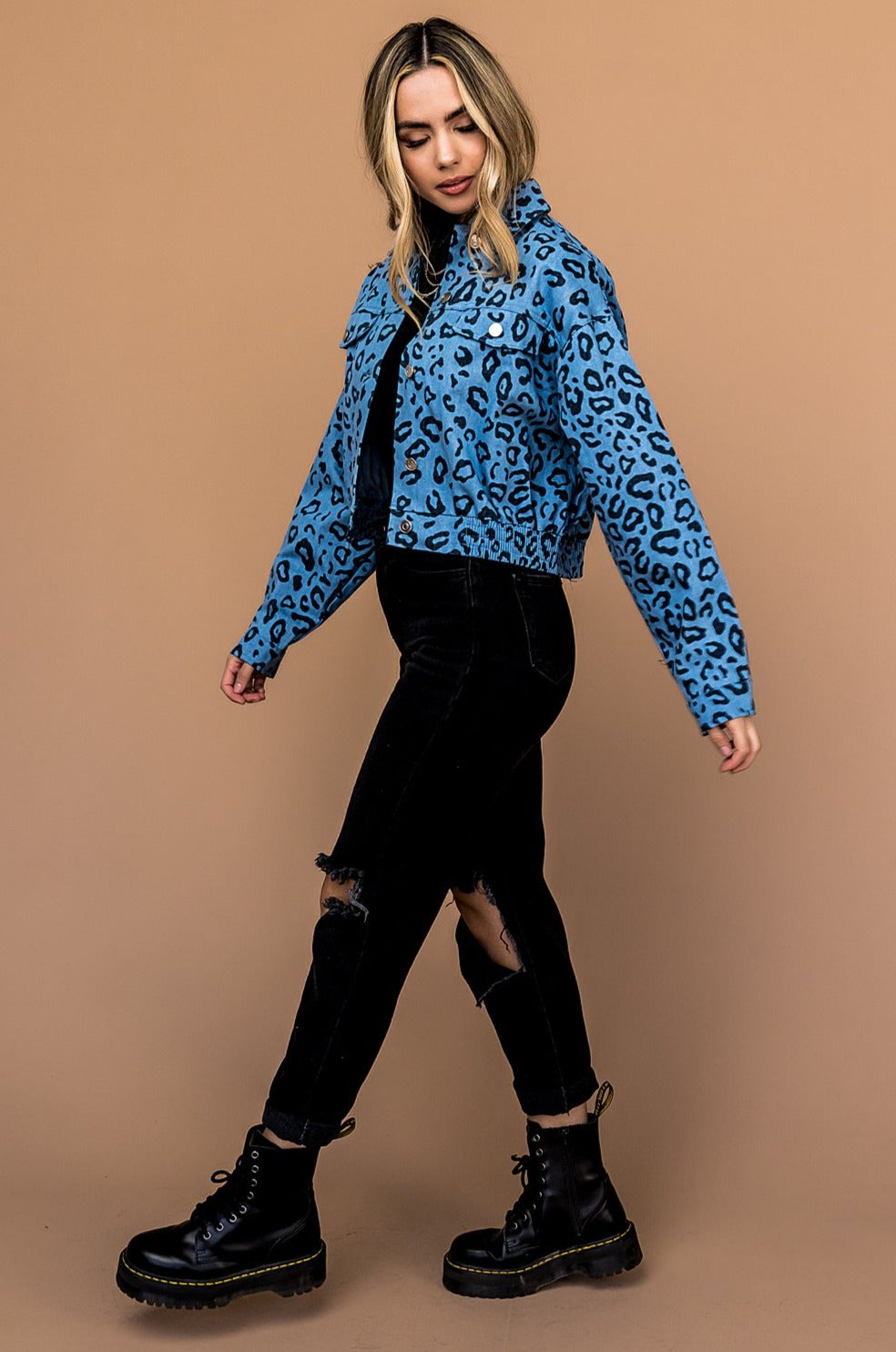 Sweet Emotion Leopard Denim Jacket