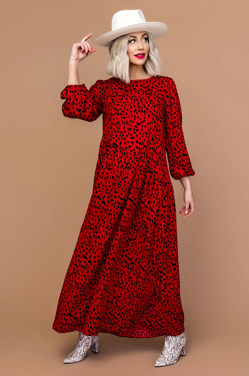 Lolita Spotted Maxi Dress in Red