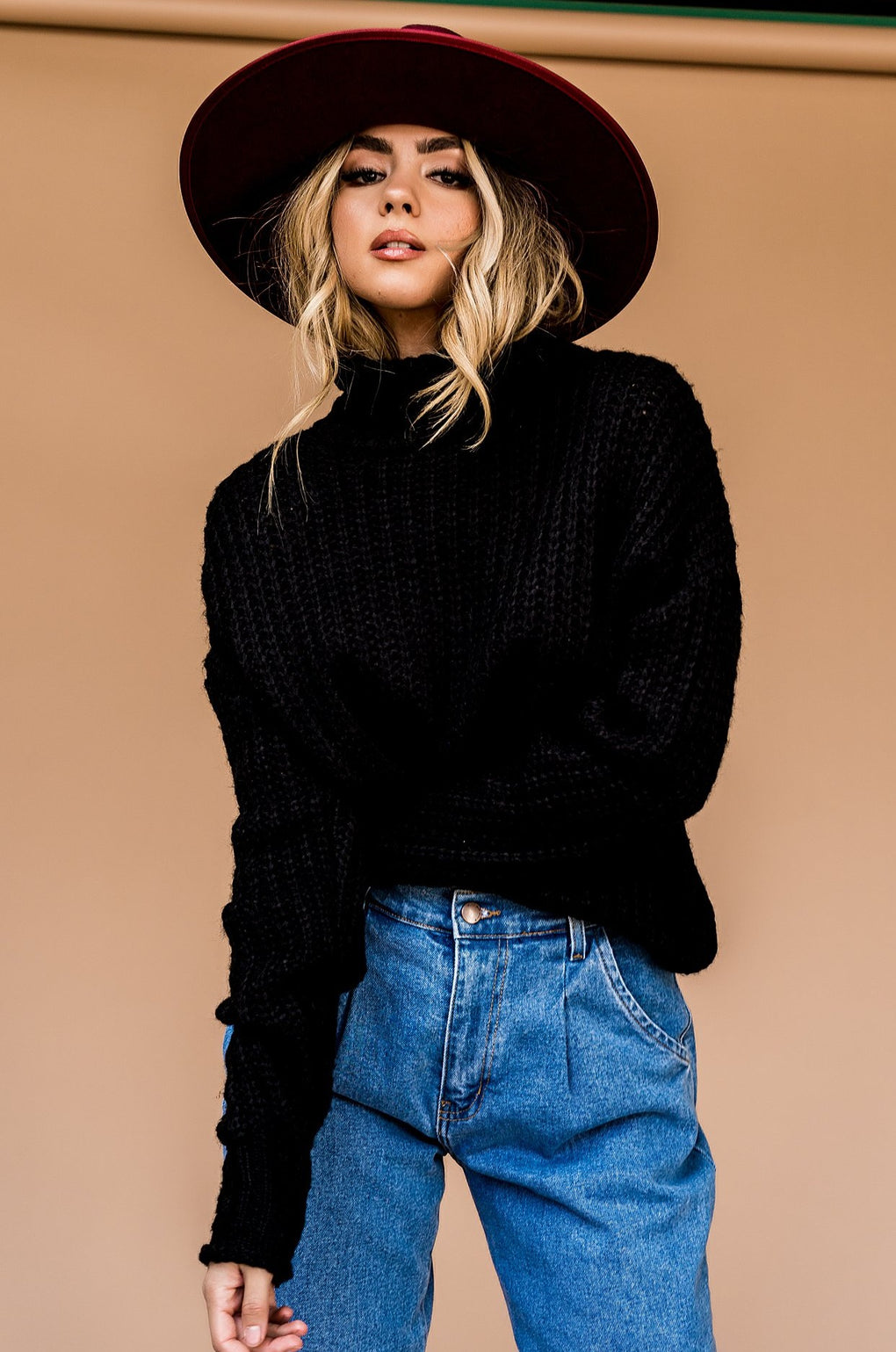 Rockefeller Turtleneck Knit in Black