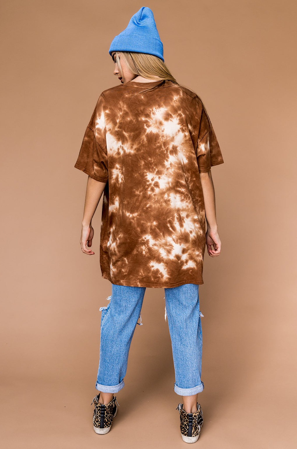 Good Times Oversized Tie Dye Tee in Coffee