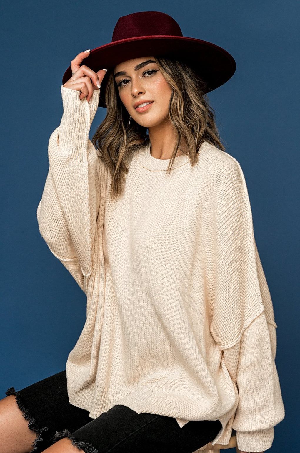 Sweater Weather Oversized Knit in Vanilla