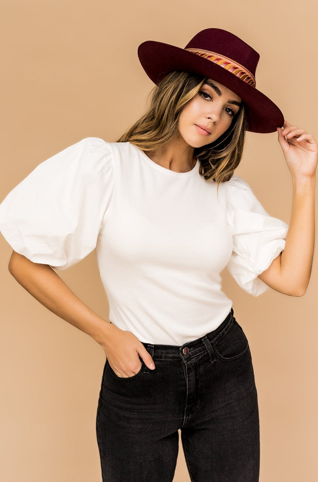 Dream Chaser Luxe Knit Puff Sleeve Top