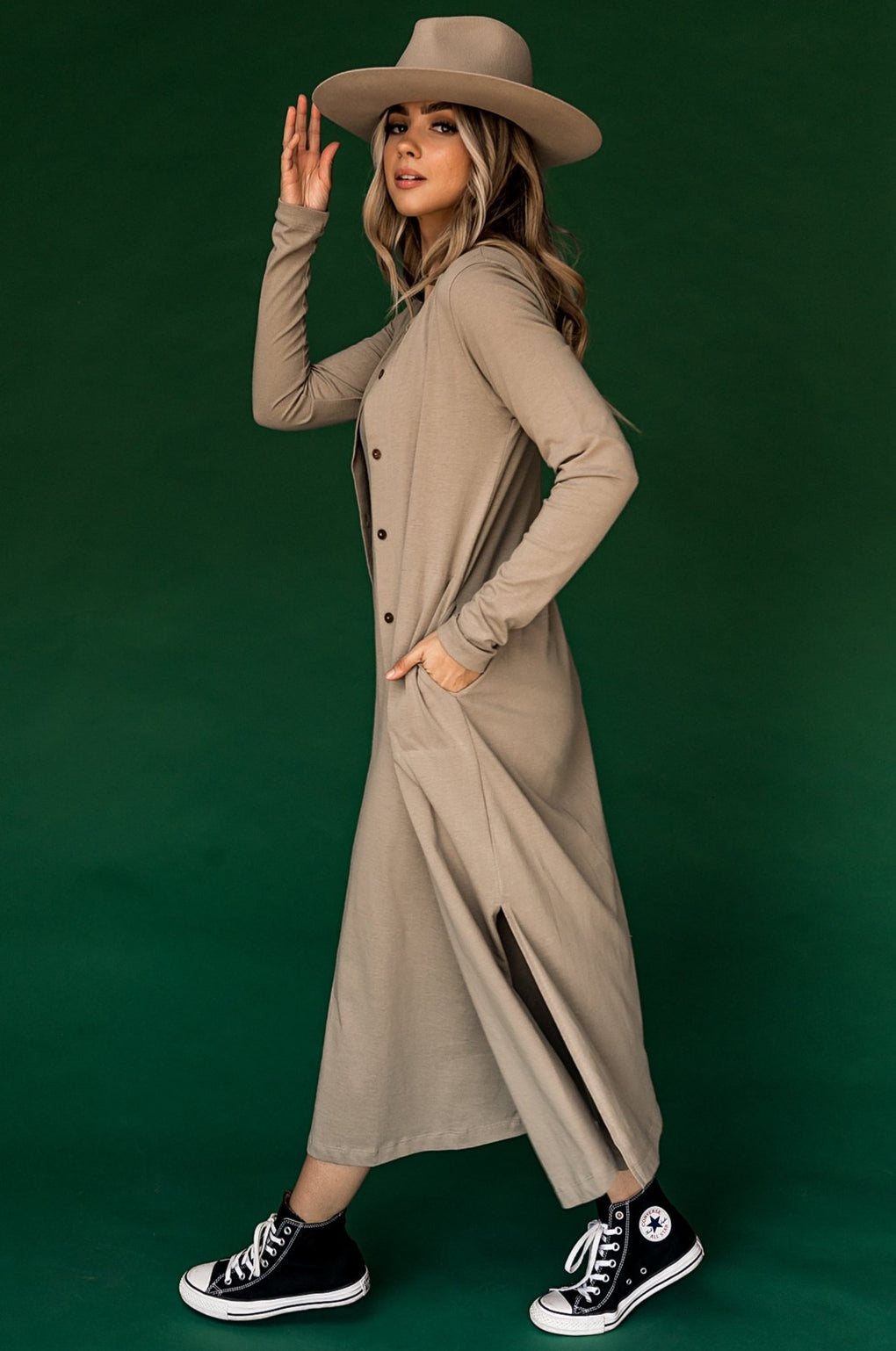Bryant Park Dress and Duster Set in Taupe