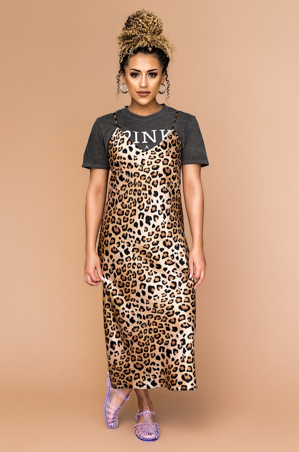Magic City Satin Leopard Shift Dress