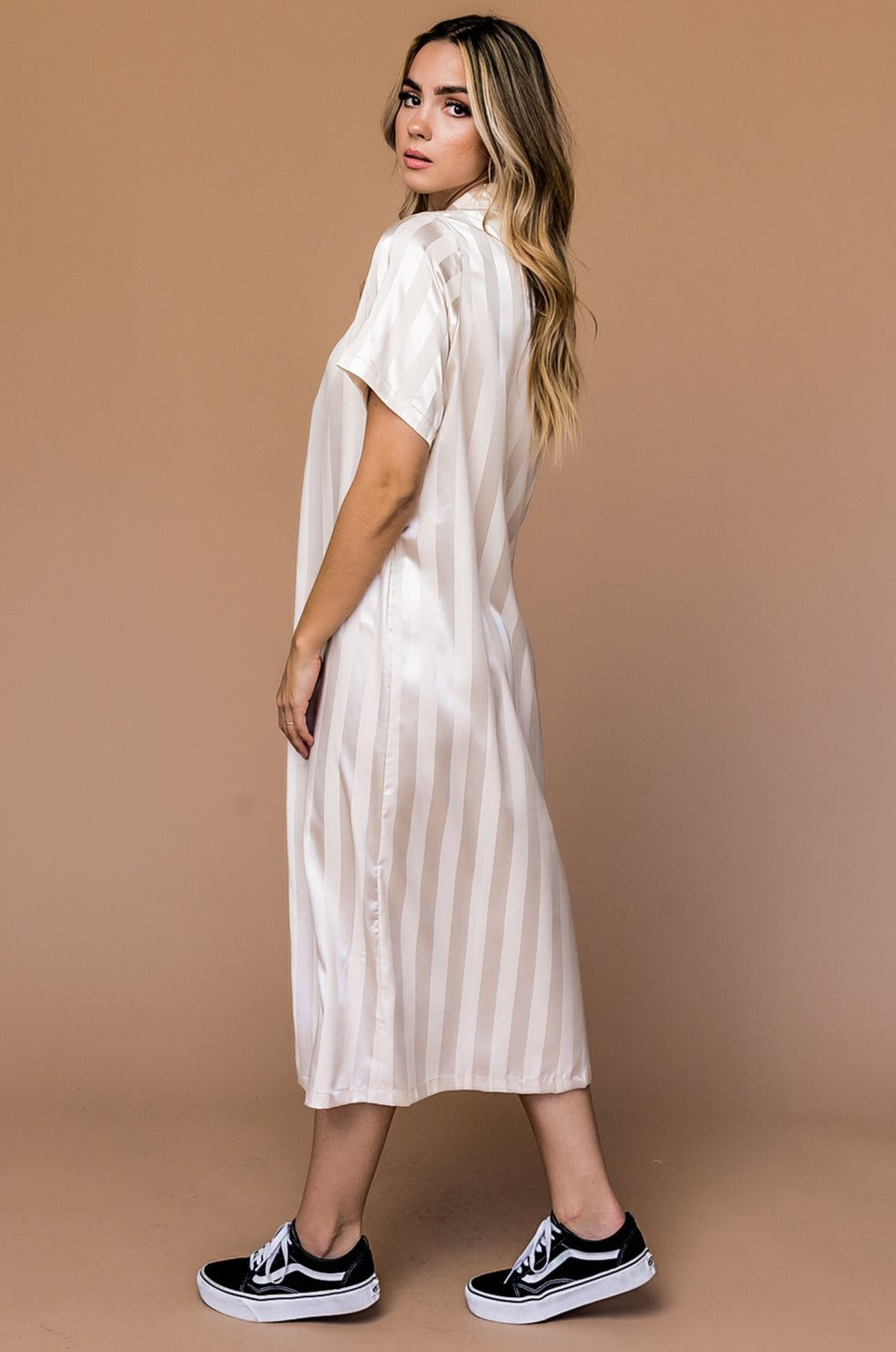 Silver Screen Satin Striped Midi Dress