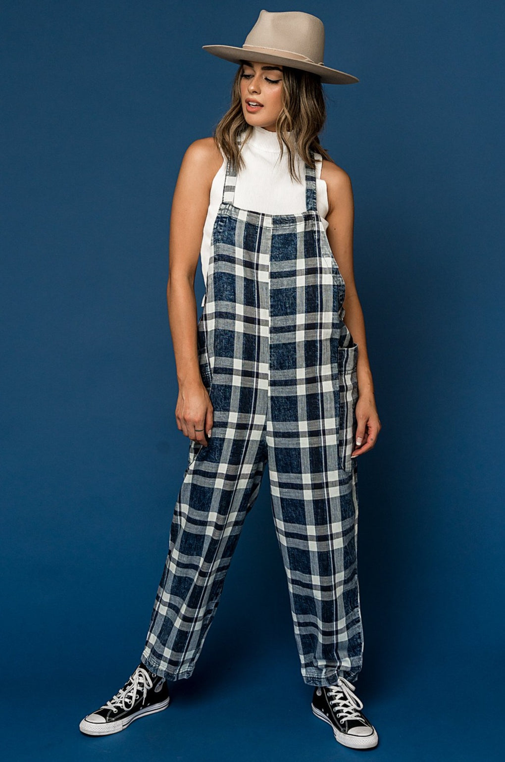 Better Than Ever Plaid Overall Jumper