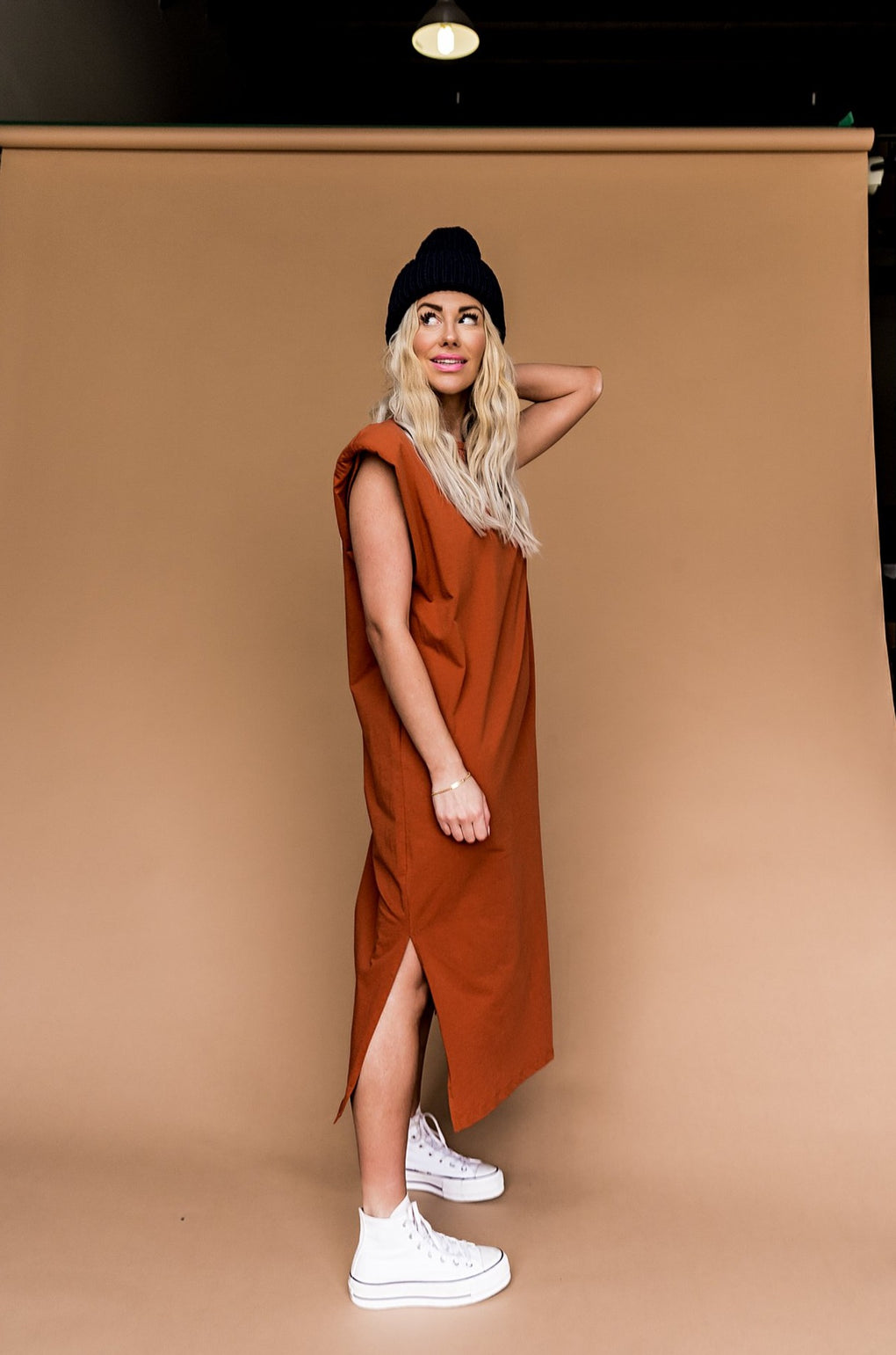 She's A Badass Muscle T-Shirt Dress in Cinnamon