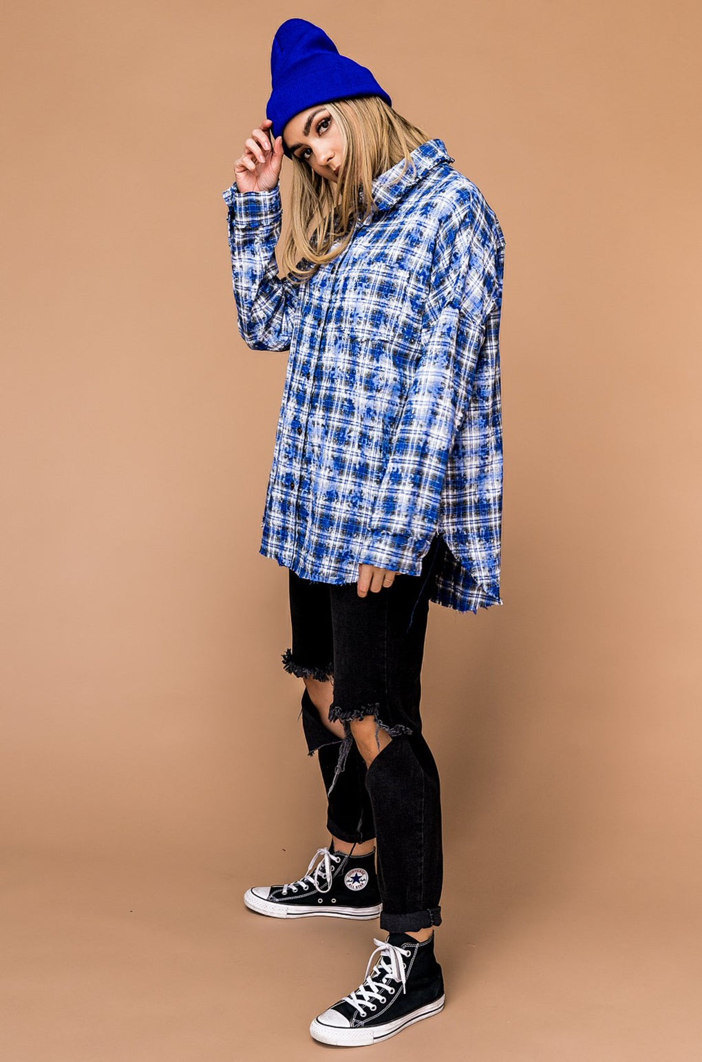 Sing It Loud Plaid Button Up in Cobalt