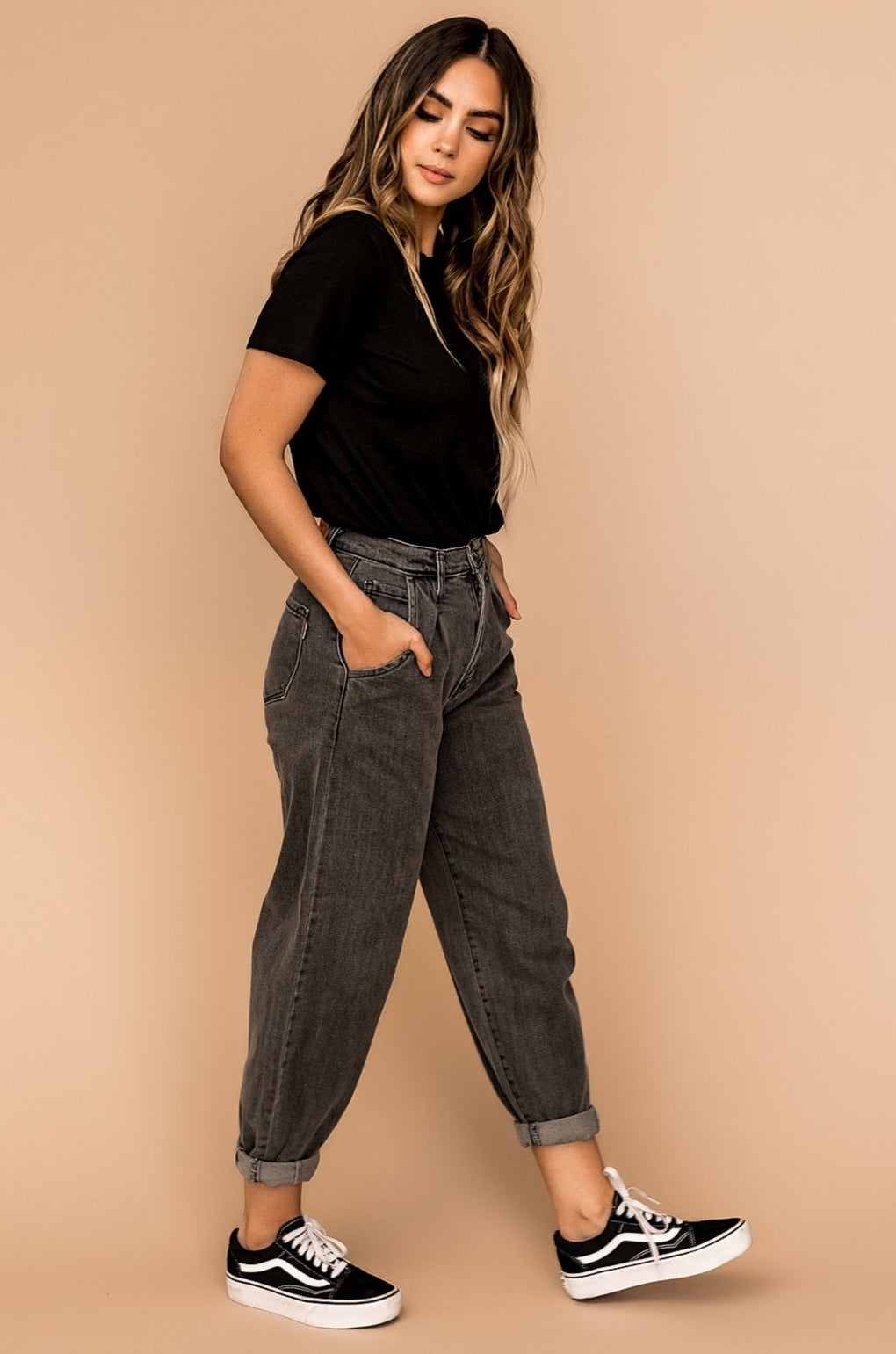 Stevie Slouch Mom Jeans in Stone