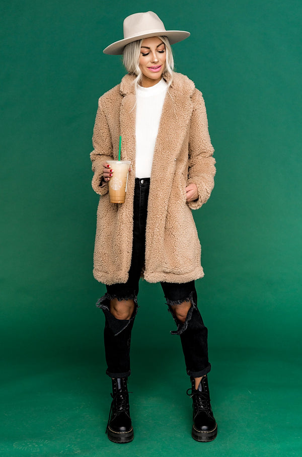 Almond Latte Teddy Coat