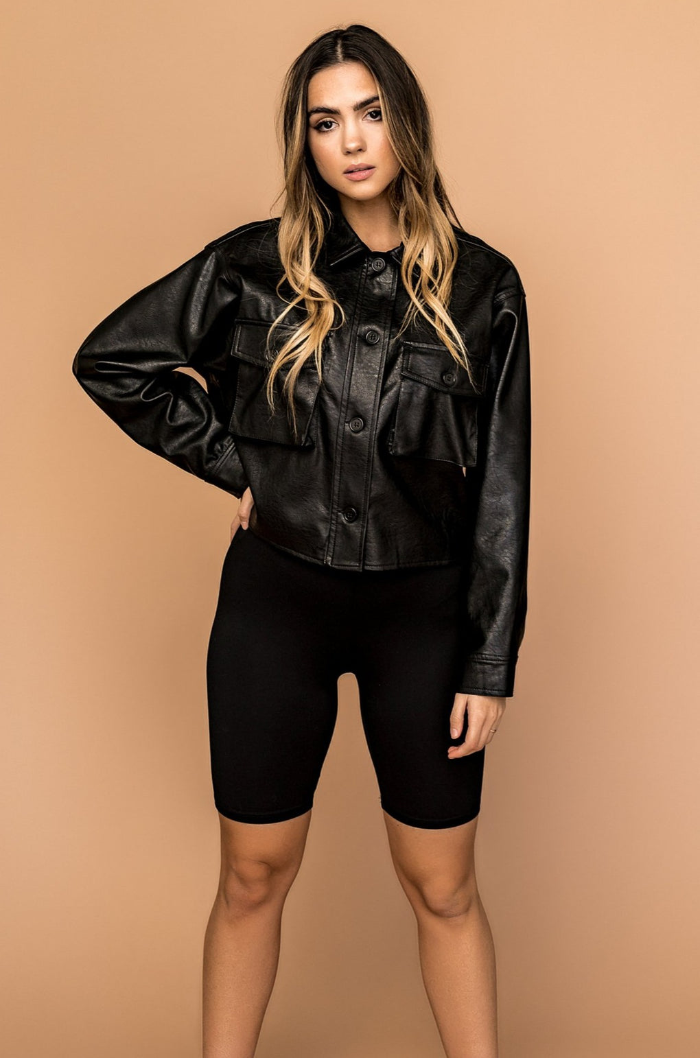 Chicago Vegan Leather Cropped Top
