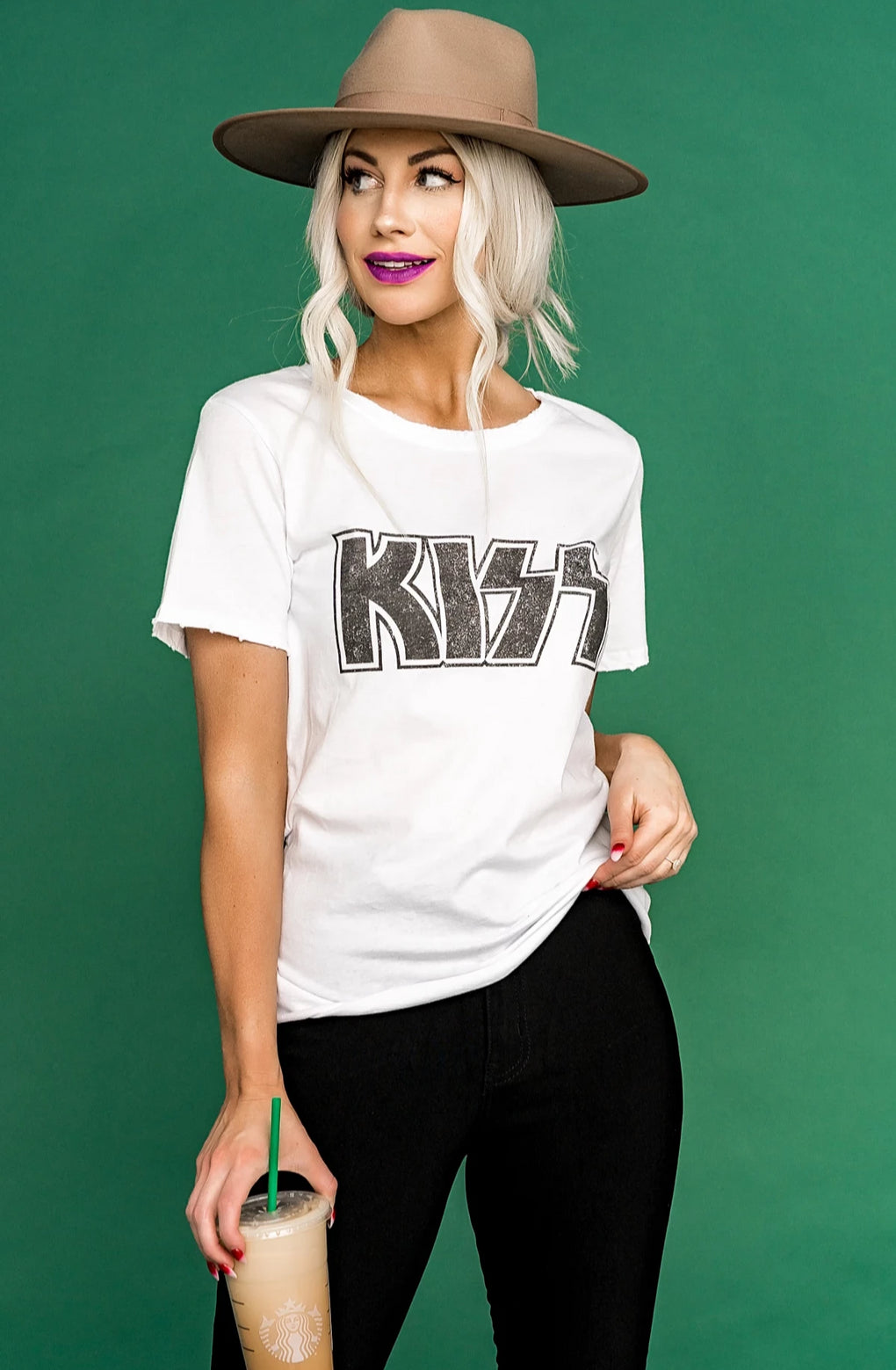 Crazy With Kiss Band Tee