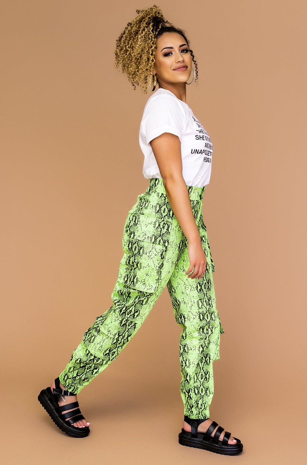 Neon Lights Grunge Cargo Pants
