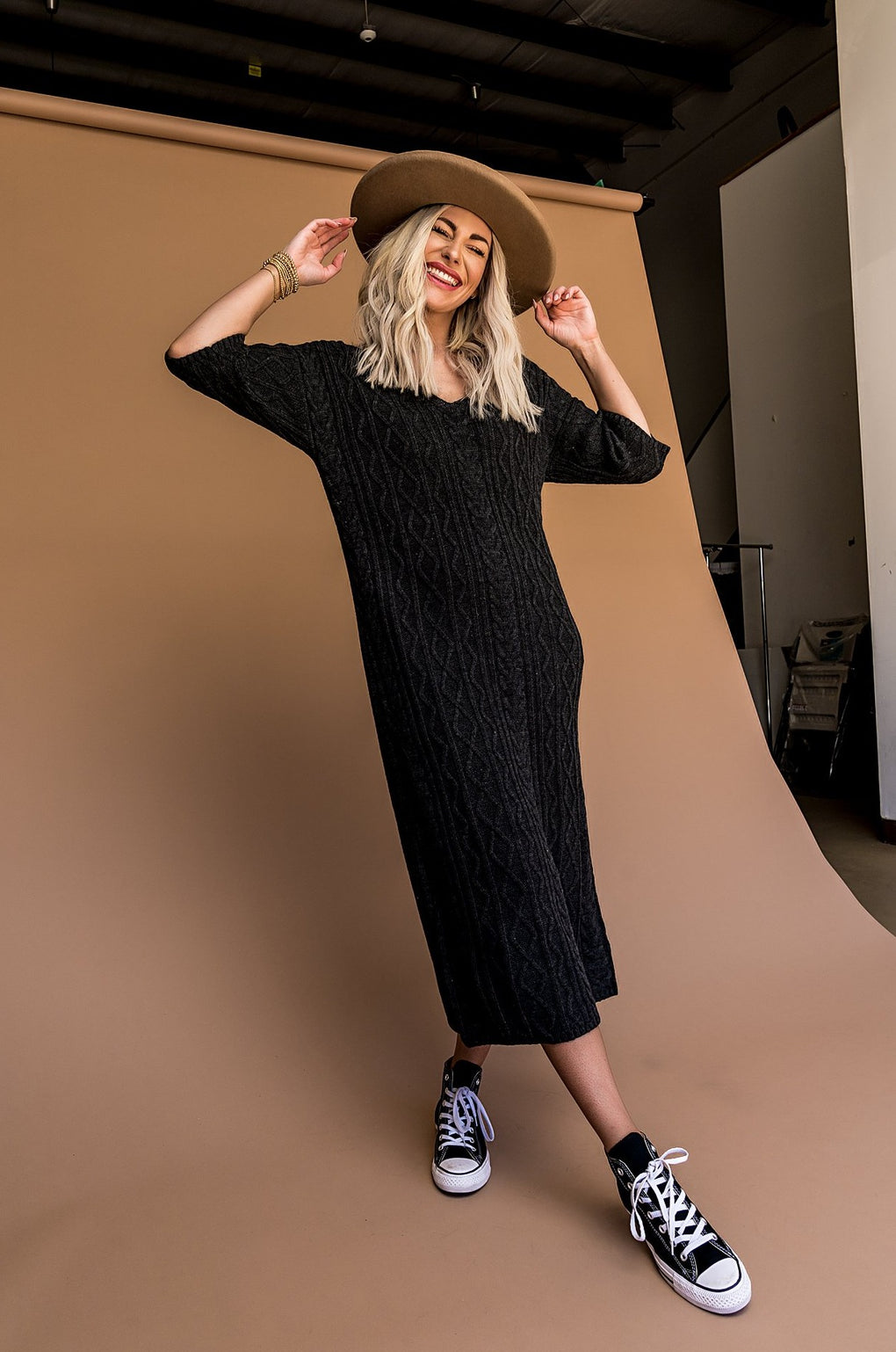 She's Classic Cable Knit Sweater Dress in Charcoal