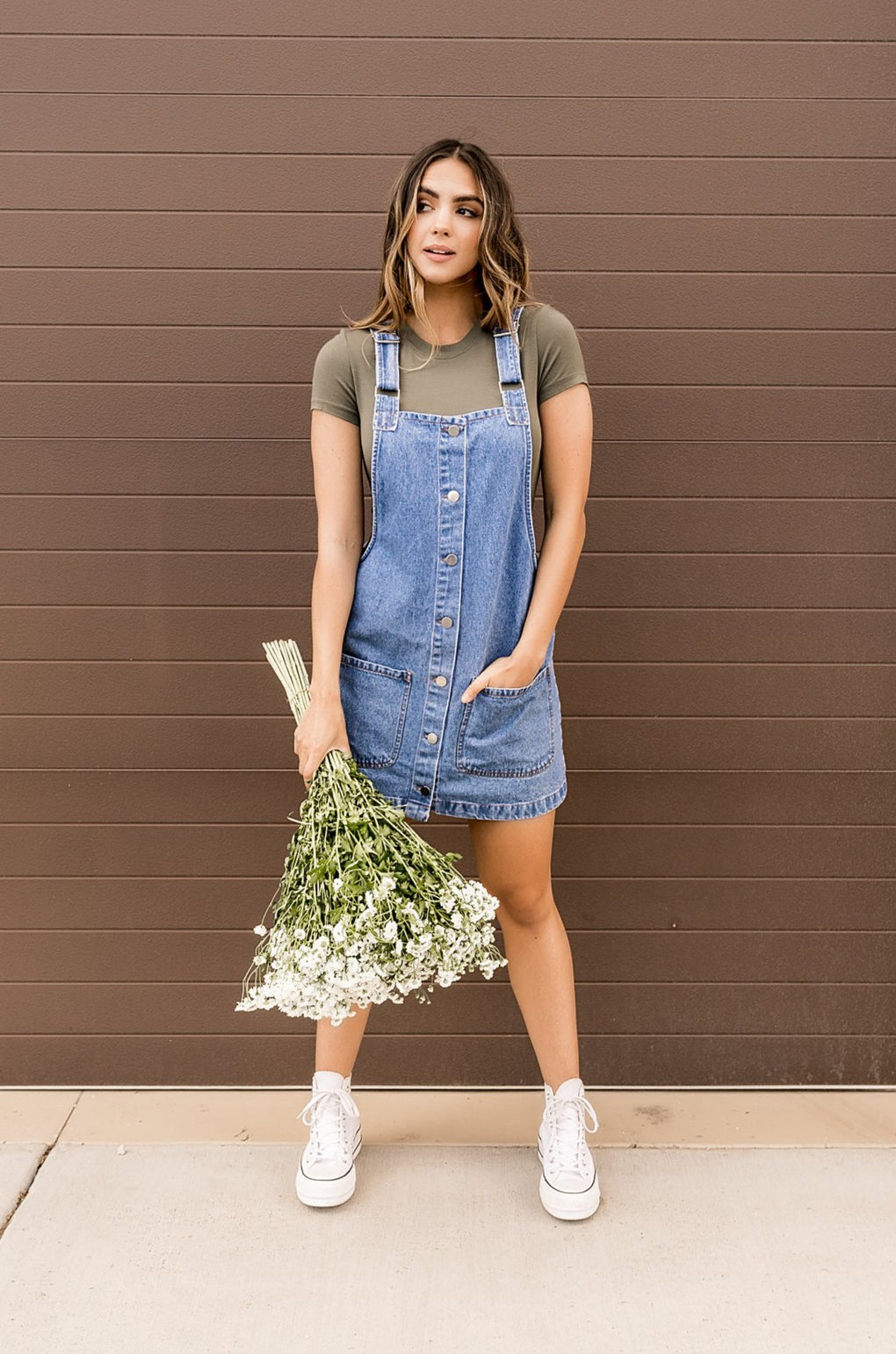 Let's Brunch Denim Overall Dress