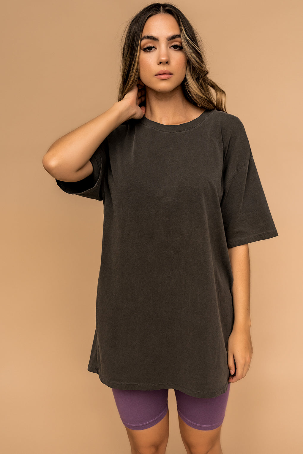 On The Weekends Oversized Tee in Charcoal