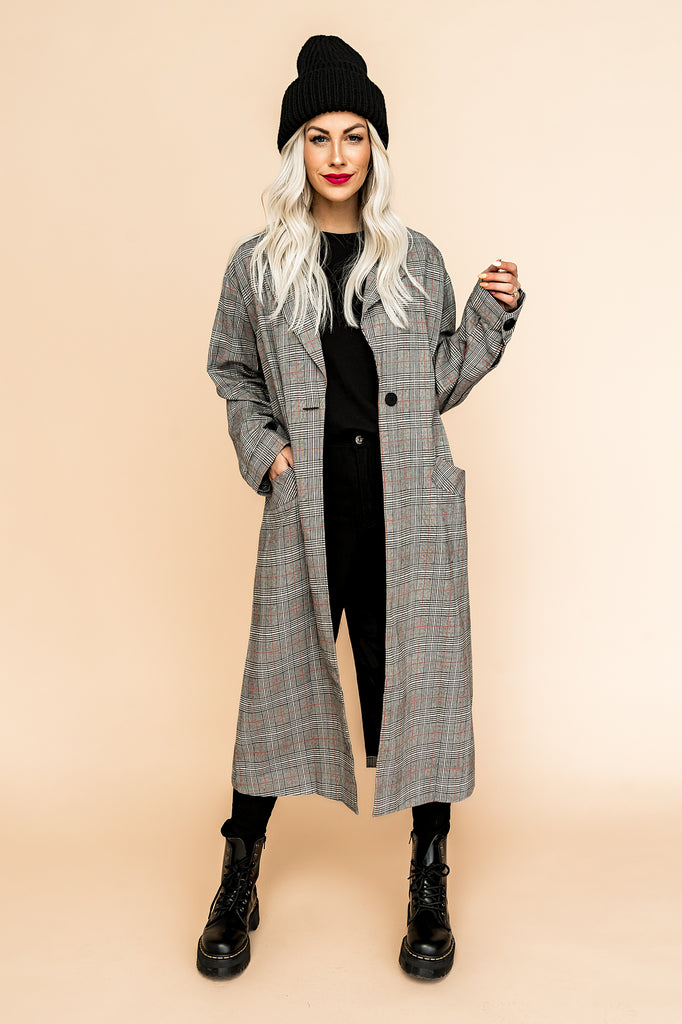 Fifth Ave Plaid Longline Jacket