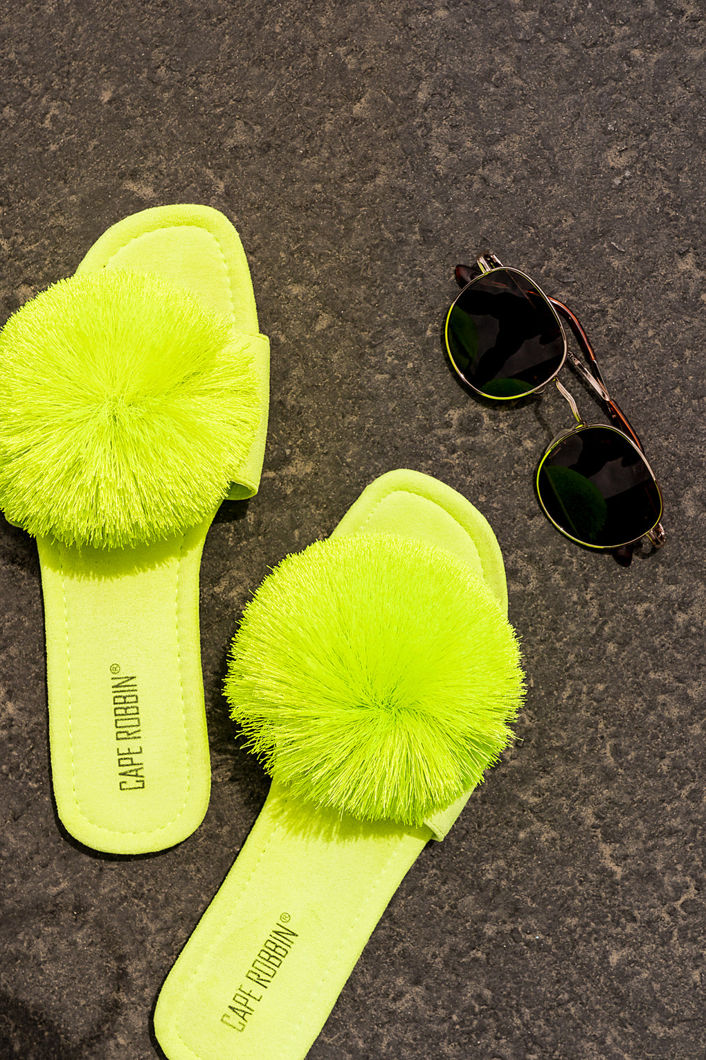 Brunch in Palm Springs Neon Pom Pom Slides