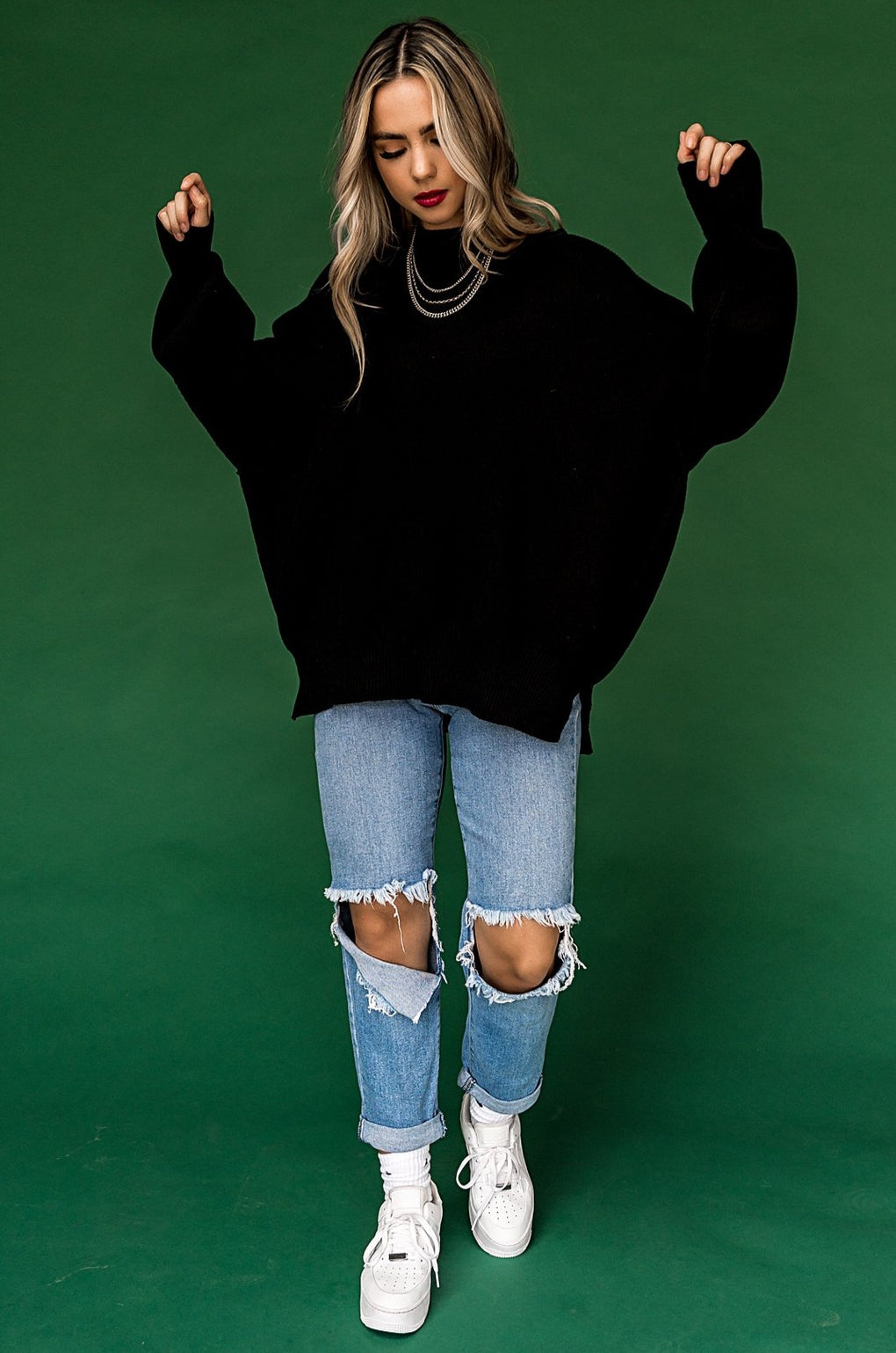 Sweater Weather Oversized Knit in Black