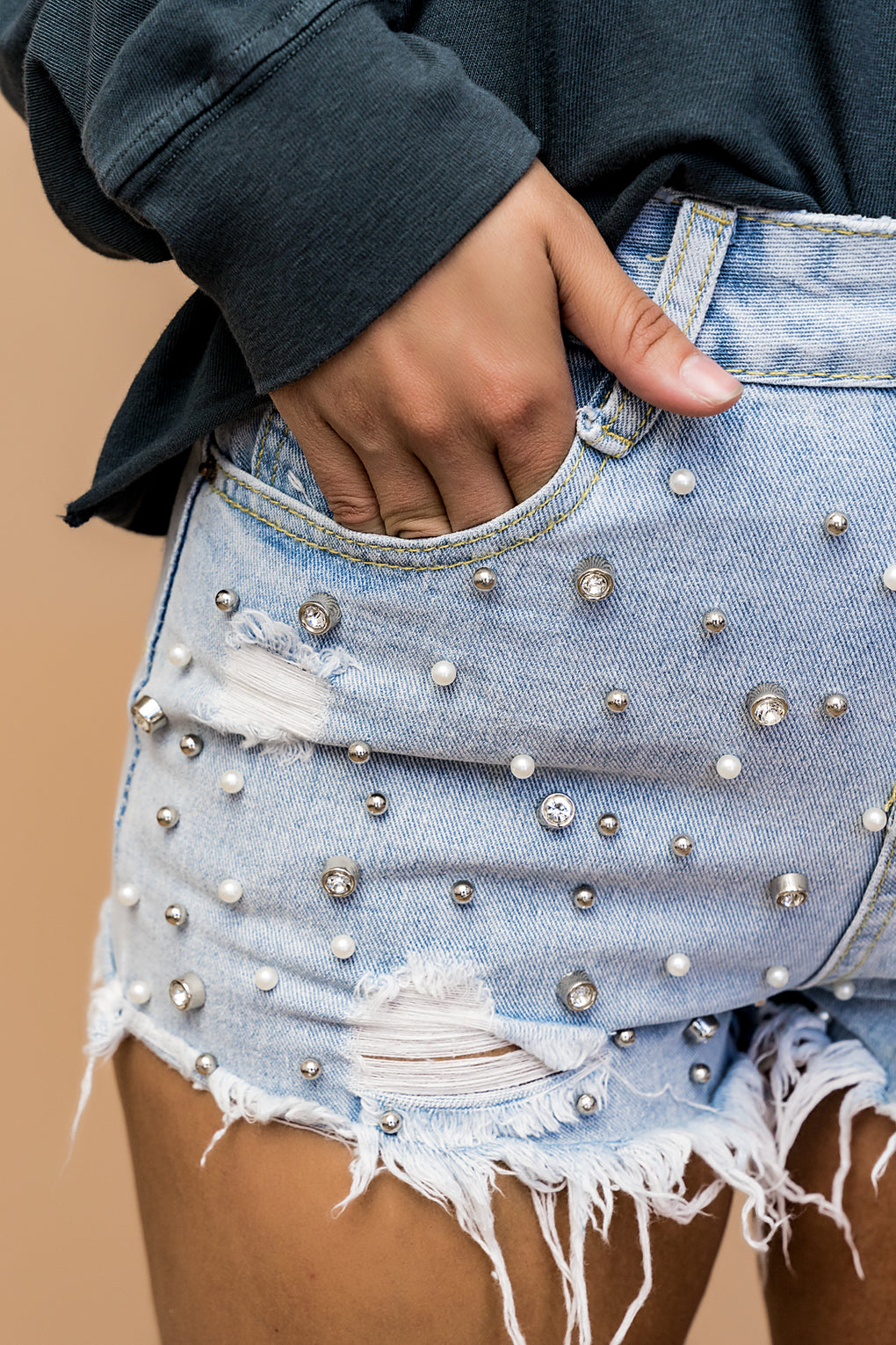 Queen Vibes Studded Denim Shorts