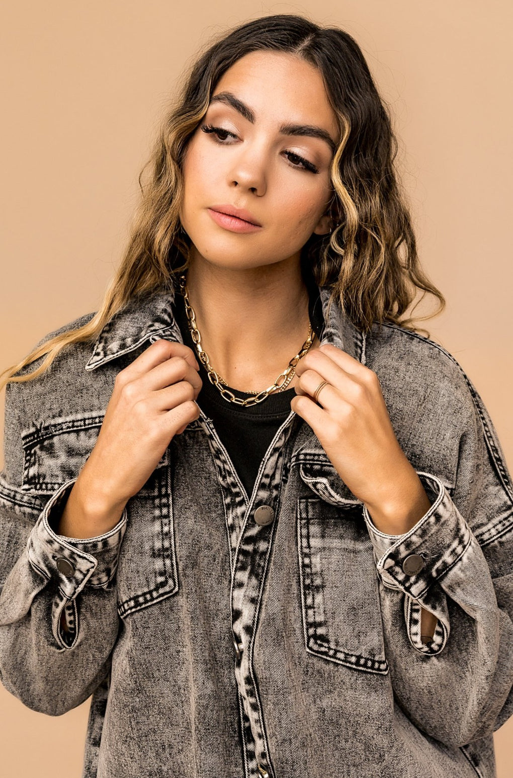 Loveland Acid Wash Denim Jacket in Stone