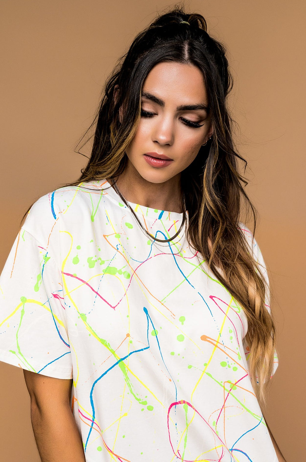 Life Is Art Neon Paint Splatter Tee