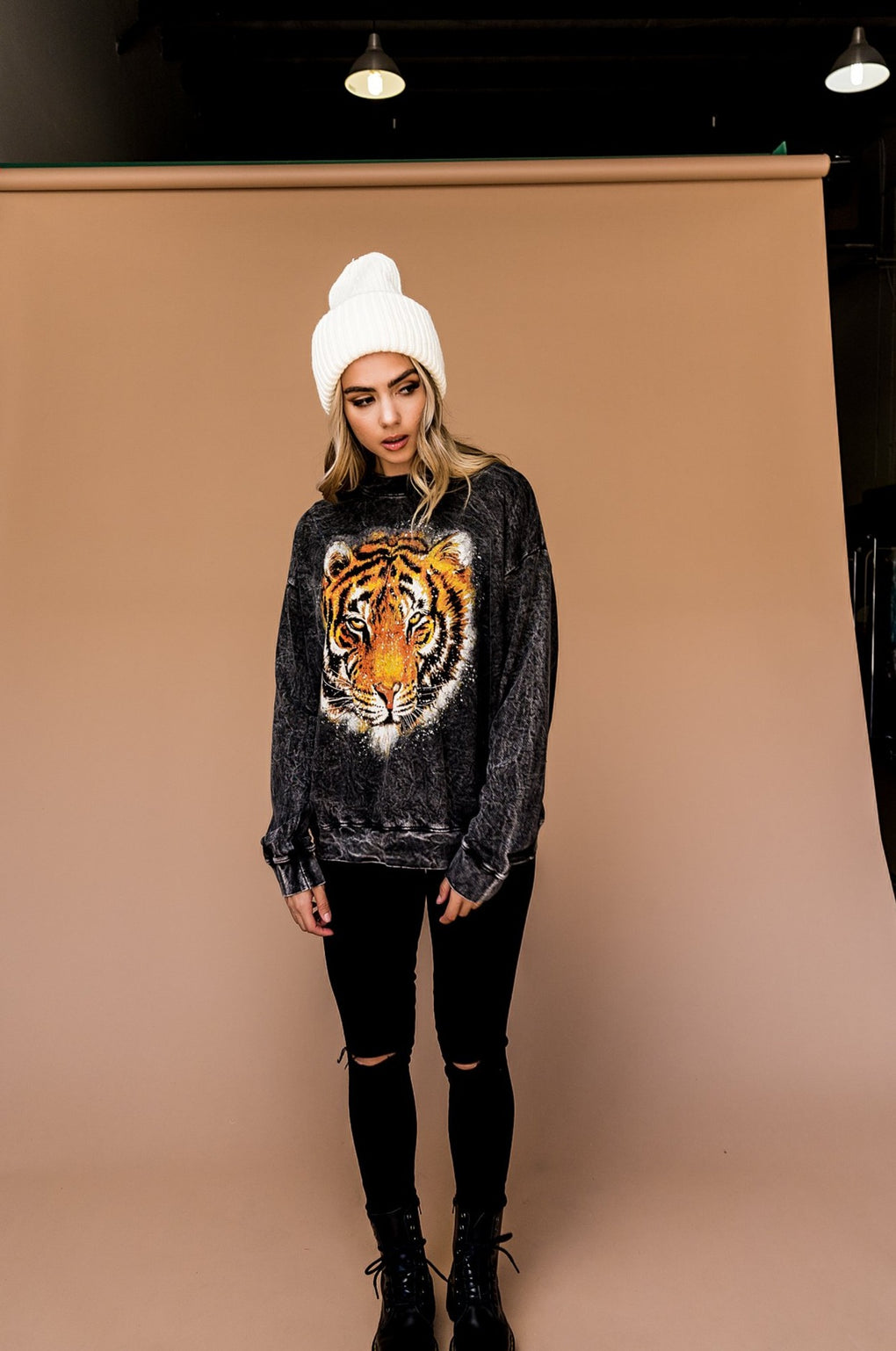 Fierce Vibes Acid Wash Tiger Pullover