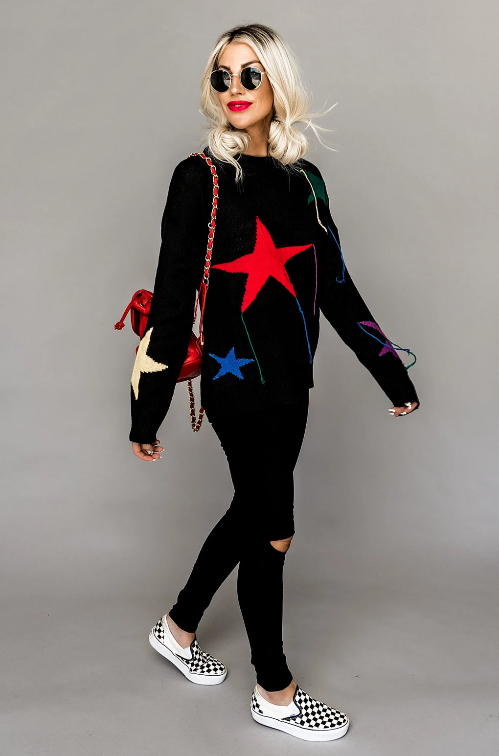 Seeing Stars Black Sweater